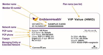 Front of EmblemHealth ID card